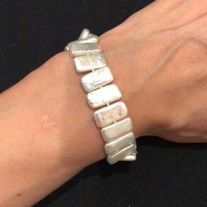 Flat fresh water pearl bracelet